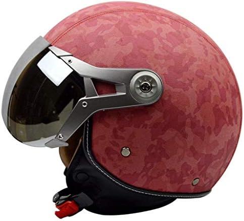 RMXMY 女性のハーフヘルメットレトロ四季メンズフルヘルメットオートバイシーズン日焼け止めハーフサンヘルメット、ABSヘルメット (Color : A, Size : L)