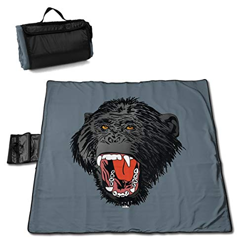 FUNMAX Rude Monkey Zany Roar Traditions Large Picnic Blanket Water Resistant Tote Great for Picnics Camping On Grass at The Beach Tailgating at Stadiums Durable Mat Has Waterproof Backing 60 X 58 in.