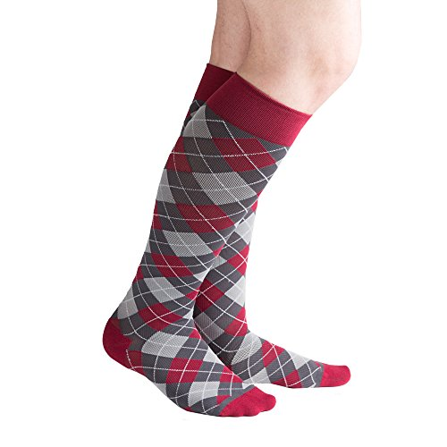 VenaCouture Mens 15-20 mmHg Compression Socks, Bold Mini-Argyle Pattern