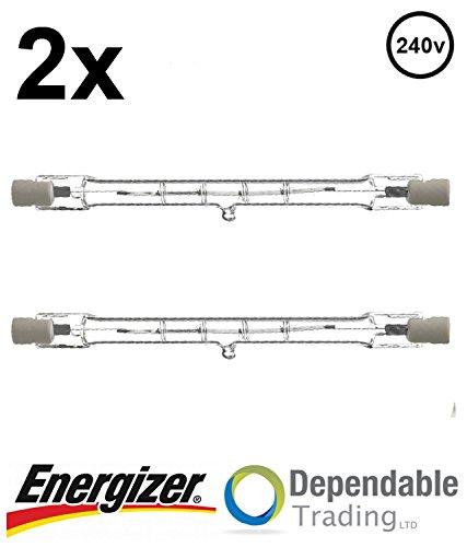 2x ENERGIZER 400w = 500w 118mm Energy Saving Tungsten Halogen R7s Floodlight
