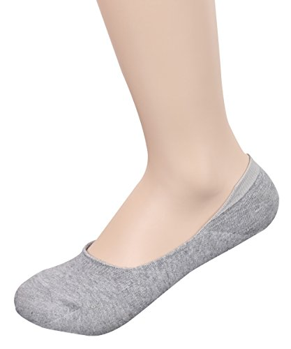 (TETIBA Women's Premium Cotton No Show Liner Socks with Double Elastic band & Non slip Silicone Patch Pack of 1 Pair (shoe 8-11, 1 Pair_gray))