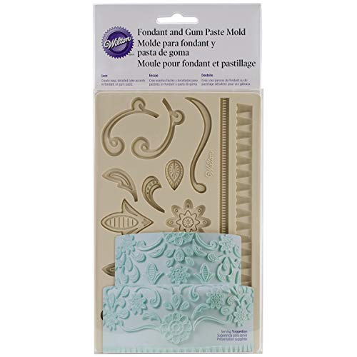 - Wilton 409-2557 Fondant and Gum Paste Silicone Mold, Lace