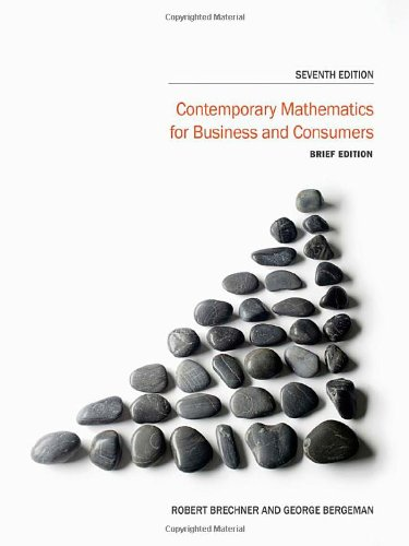 Contemporary Mathematics for Business and Consumers, 7th Brief Edition Front Cover