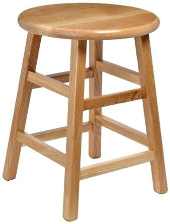 Diversified Woodcraft 5018K Oak Wood Stool With Square Post Legs, 14u0026quot;  Width X 18u0026quot