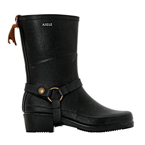 Aigle Womens Miss Julie Black Rubber Boots 38 EU ()