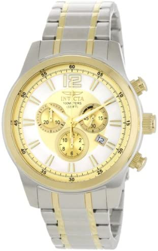 Invicta Men s 0792 II Collection Chronograph Gold Dial 18k Gold-Plated and Silver-Tone Stainless Steel Watch