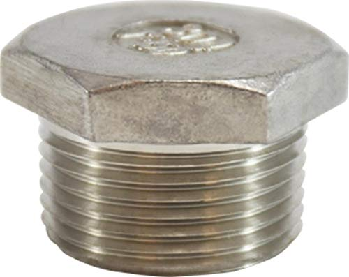 Midland 62-633 304 Stainless Steel Cored Hex Head Plug Size Pack of 25 304 Stainless Steel 1//2 150#