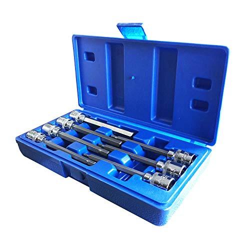 - Extra Long Metric Hex Bit Socket Set, 7 Piece 3-10mm 3/8 Drive, CR-V Steel (Hex)