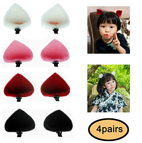 ThEast Cat ears barrette,Rabbit ears hairpin for Babies, Toddlers, Young Girls, and Children (4pairs Cat ears B)