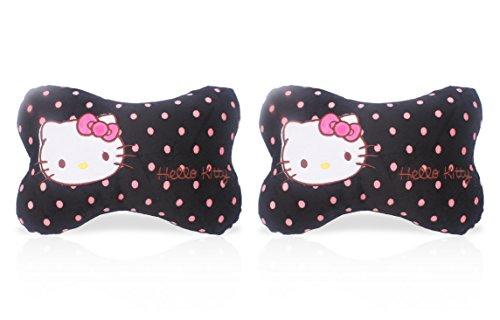 Finex Set of 2 Hello Kitty Black Bone shaped Head Neck Rest Cushion for Car White Polka Dot