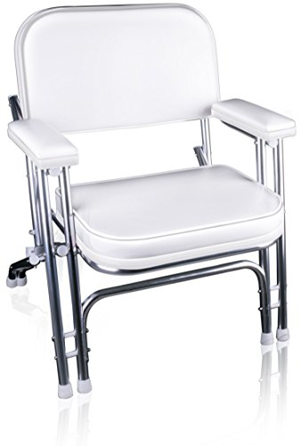 Aluminum Boat Docks (Leader Accessories Portable Folding Deck Chair with Aluminum Frame and Armrests (White))