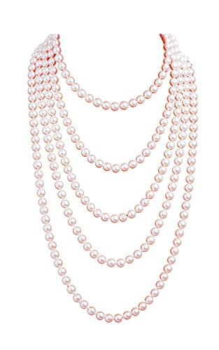 1920s Pearls Necklace Fashion Faux Pearls Gatsby Accessories Vintage Costume Jewelry Cream Long Necklace for Women (Nude-1)