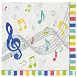 Cocktail Napkins - 150-Pack Luncheon Napkins, Disposable Paper Napkins Music Party Supplies for Kids Birthdays, 2-Ply, Unfolded 13 x 13 Inches, Folded 6.5 x 6.5 Inches
