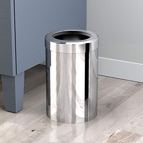 Gatco 1910 Modern Waste Basket Bathroom, Kitchen, Office Trash Bin, Round, Chrome