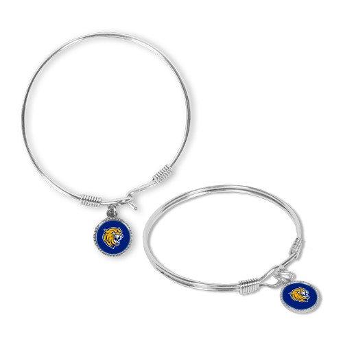 CollegeFanGear Johnson & Wales Silver Bangle Bracelet with Round Pendant 'Wildcat - Head Wildcat Bracelet
