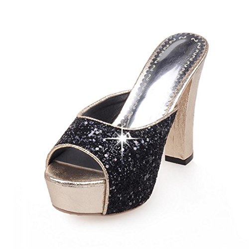 Alto Tacón Mirar furtivamente Mujer Club Lentejuelas del nocturno Zapatillas Negro Zapatos Fornido pie Black Sandalias Elegante Dedo Bloquear w01H81xqf