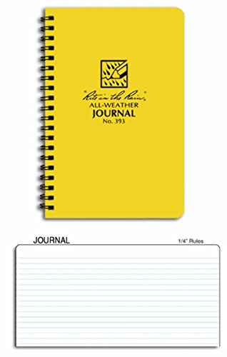 """Rite in the Rain All-Weather Side-Spiral Notebook, 4 5/8"""" x 7"""", Yellow Cover, Journal Pattern (No. 393)"""