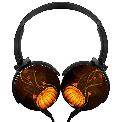 Halloween Pumpkin Headphones 3D Printed Over-Ear Lightweight Headphone for Kids Men Women