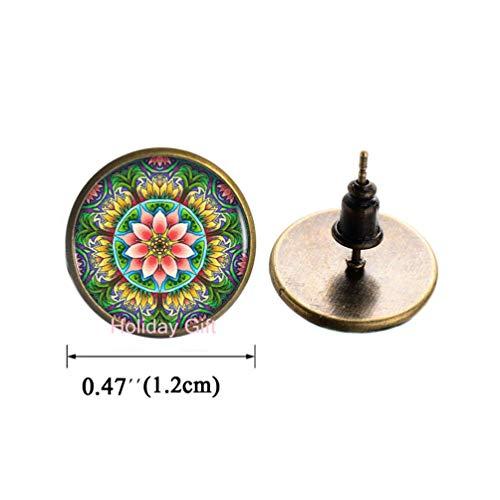 Holiday gift Lotus Mandala Logo Stud Earrings Earrings Charm Heart-Shaped Fashion Bronze Chain Earrings Women Jewelry Dress AccessoriesH086