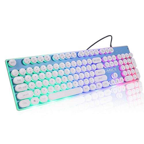 IMICE AK-700 Retro Punk Gaming Mechanical Keyboard Wired Backlit Led Gamer Desktop Key Panel Gaming Mechanical Keyboard Blue