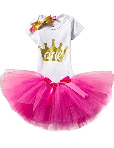 TTYAOVO Baby Girl 1st Birthday 3pcs Sets with Golden Bow Headband & Romper & Skirts Size 1 Years Rose ()