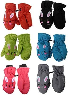Misha Kids Gloves Winter Warm TR Velvet Mittens Toddlers Infant Waterproof Gloves Anti-slip Leather Mittens Suitable for 2-5 Years Old Unisex Children