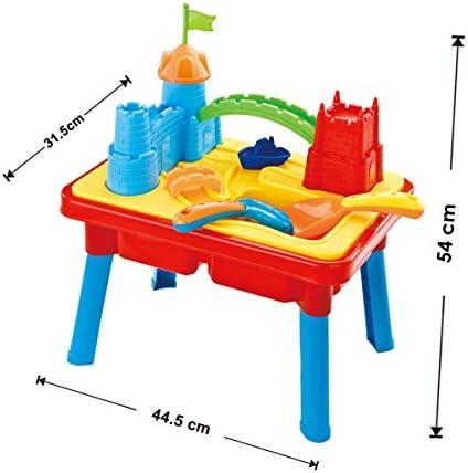 deAO Mesa de Agua y Arena – Castillo con Foso Doble Compartimento, Tapa y Accesorios Incluidos: Amazon.es: Juguetes y juegos