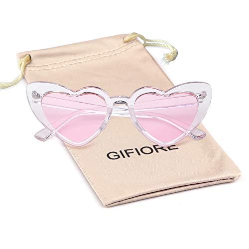 Clout Goggle Heart Sunglasses Vintage Cat Eye Mod Style Retro Kurt Cobain - Hearts Cute Pink