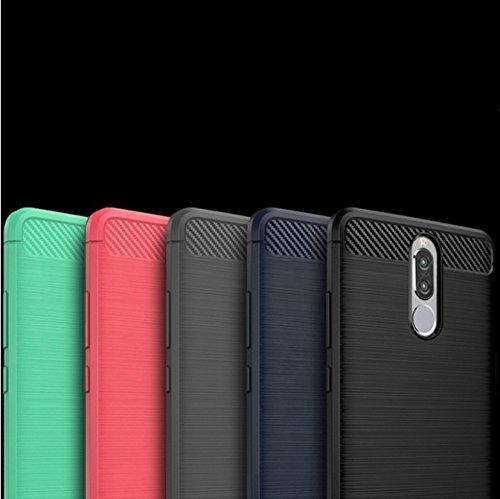 Funda Huawei Honor 9i,Funda Fibra de carbono Alta Calidad Anti-Rasguño y Resistente Huellas Dactilares Totalmente Protectora Caso de Cuero Cover Case Adecuado para el Huawei Honor 9i D