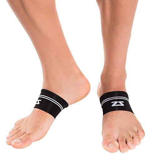 Zensah Arch Supports - Relieve Plantar Fasciitis, Heel Pain, Compression Foot Sleeves,Large/X-Large,Black
