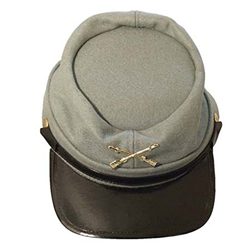 Civil War army hat Lined Keppie Cap (medium, Confederate WOOL grey) - Army General Womens Costume
