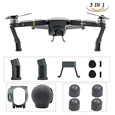 DJI Mavic Pro Drone Accessories Kits, Vsentech Landing Gear Leg Height Extender with Protection Pad, Lens Hood Sun Shade with Silicone Cover, Motor Cap Protector Cover - Grey