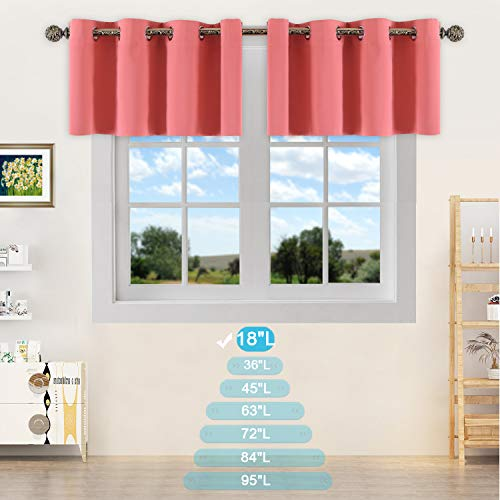 YGO Blackout Valance Tiers for Small Window - Grommet Top Window Treatment Blackout Tiers Panels Drapes for Bedroom (Coral, 2 Pcs, W52 x L18 1.2 Inches Header) ()
