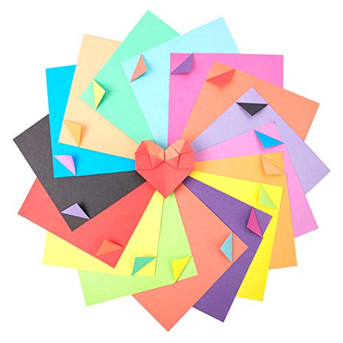 Origami Paper, 120 Sheet Double Sided 8 Rainbow Color Square Folding Paper Pack for Crane, Stars, Airplanes, Planes, Animals Kids Arts DIY Crafts,Decoration Handcrafts Paper-6 inch (120-Double side)