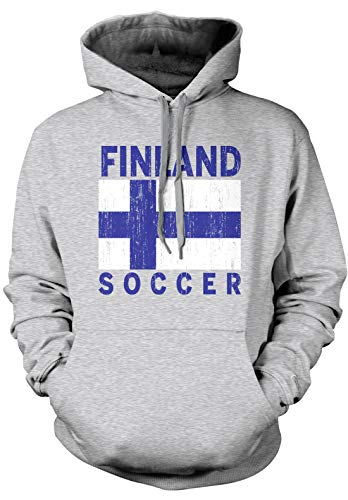 Amdesco Men's Finland Flag Finnish Soccer Football Pride Hooded Sweatshirt, Heather Gray Small (Of Finnish Arms Coat)