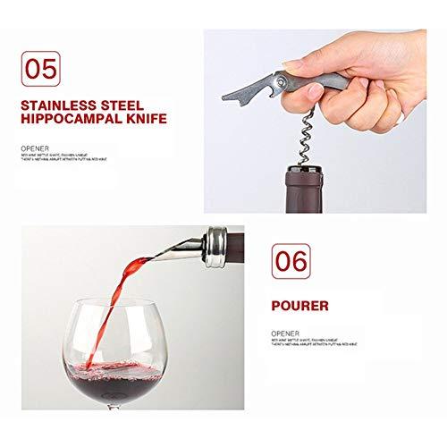 5 Pieces Wine Opener Set Manual Bottle Kit Corkscrew All-in-One Lever Cute Rabbit Cork Remover for Men Women Housewarming Wedding by GYFHMY (Image #4)