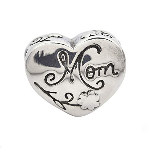 Women's Charm Heart Pendant Necklace MOM Stainless Steel Beads with Big Hole for - Mom Heart Charm 1