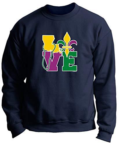 LA Mardi Gras Attire Fleur de Lis Gifts Mardi Gras Outfit Louisiana Love Mardi Gras Clothes Premium Crewneck Sweatshirt 3XL Navy]()