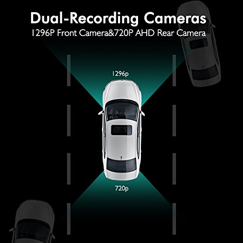 X1PRO Rear View Mirror Dash Cam 9.88'' Full Touch Screen Dual Lens with 1296P Front and 720P Super Night Vision Stream Media Backup Camera kit, WDR,LDWS, GPS Tracking,Auto-Brightness Adjusting by AUTO-VOX (Image #4)