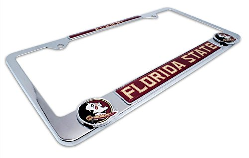 Premium All Metal NCAA FSU Seminoles Alumni License Plate Frame w/Dual 3D Logos (Florida State)
