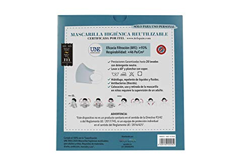 """41WDUH90v6L Mascarilla higiénica reutilizable certificada y homologada con normativa UNE0065:2020. Certificada por ITEL (Instituto Técnico Español de Limpieza). Eficacia de filtración >93% (""""Ensayo BFE"""") y de Respirabilidad >46 Pa/cm2 (Presión diferencial). Tejido hidrofobo y anti bacteriano. Mascarilla compuesta en un 65% algodon, 35% polyester, lavable (hasta 20 lavados a 60 grados con jabon neutro), cómoda y segura"""