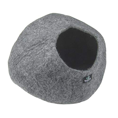 Walking Palm Felted Wool Cat Cave Bed Heather Grey