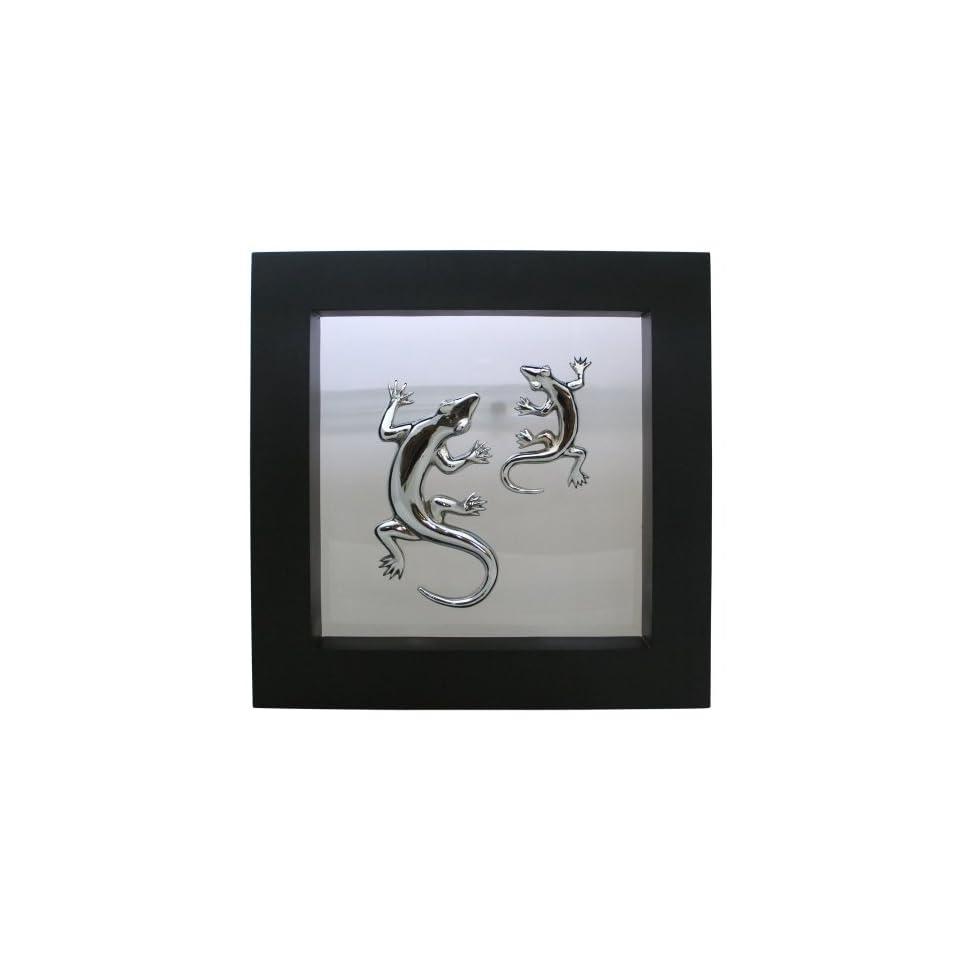Bronze~Framed Geckos Sculpture~Wall Decor~New Art