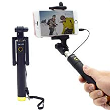 Bigrids Wired Selfie Stick with Telescoping Steel Poles, Max. Length 30 Inches, Compatible with IOS and Android, 270 Degree Rotatable Cell Phone Holder (Gold)