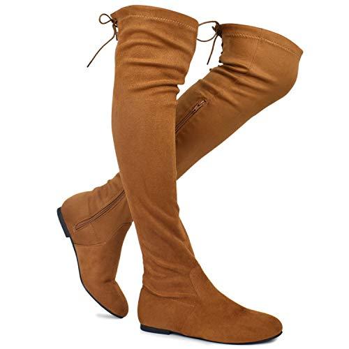 Premier Standard - Women's Fashion Comfy Vegan Suede Side Zipper Over Knee High Boots, TPS Boots-04Eikciv Camel Su Size 6.5 ()