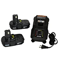 Ryobi P118 NiCd/Lithium Ion Battery Charger and Two P102 Batteries (Bulk Packaged)