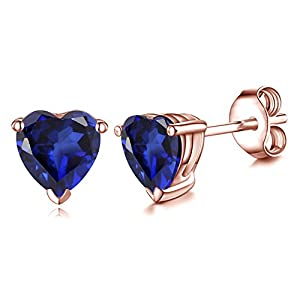 Vorra Fashion 14k Rose Gold Plated Real 925 Sterling Silver Heart Shape Blue Sapphire Studs Earrings