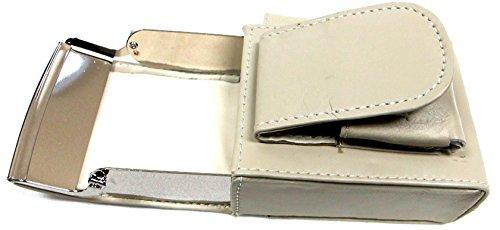 (Unisex Men Women's Genuine Leather Cigarette Holder Hard Case Pouch w/ Lighter Match Pocket Belt Loop - BONE GRAY)