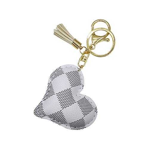 Keychain Heart for Women Leather Car Key Chain Bag Charm Accessories Gift (White) (Leather Keychain Small)