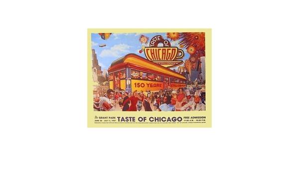 Taste of Chicago 1987 original vintage poster city food music summer festival